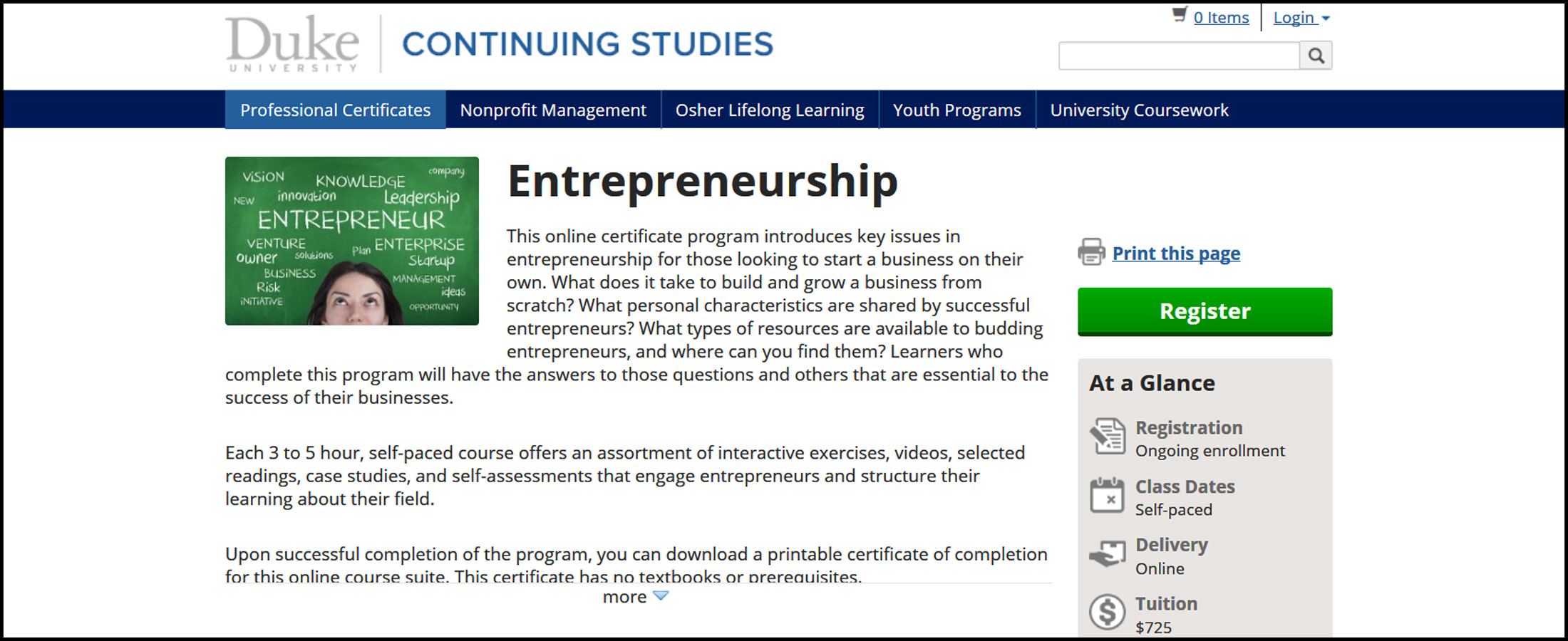 Duke University Entrepreneurship Certificate Program Dhriiti