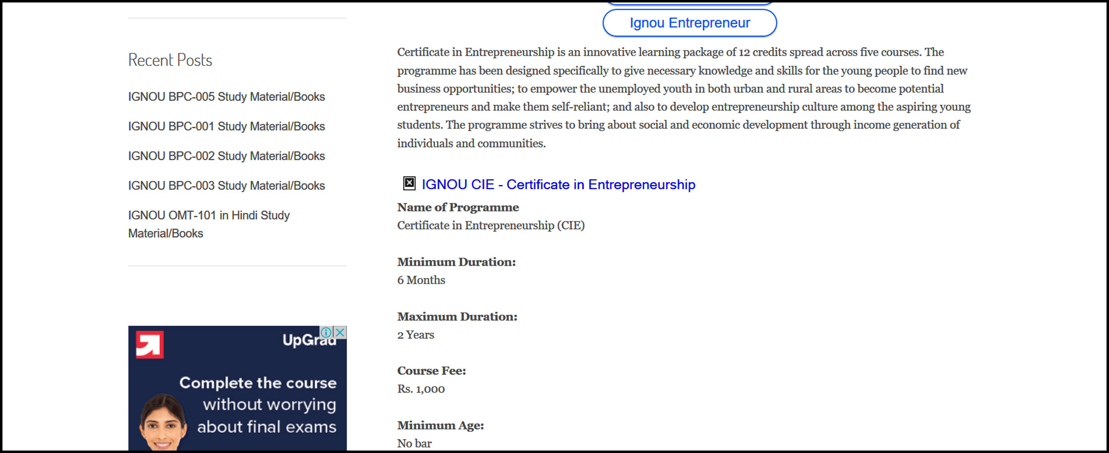 Ignou Certificate In Entrepreneurship Dhriiti The Courage Within