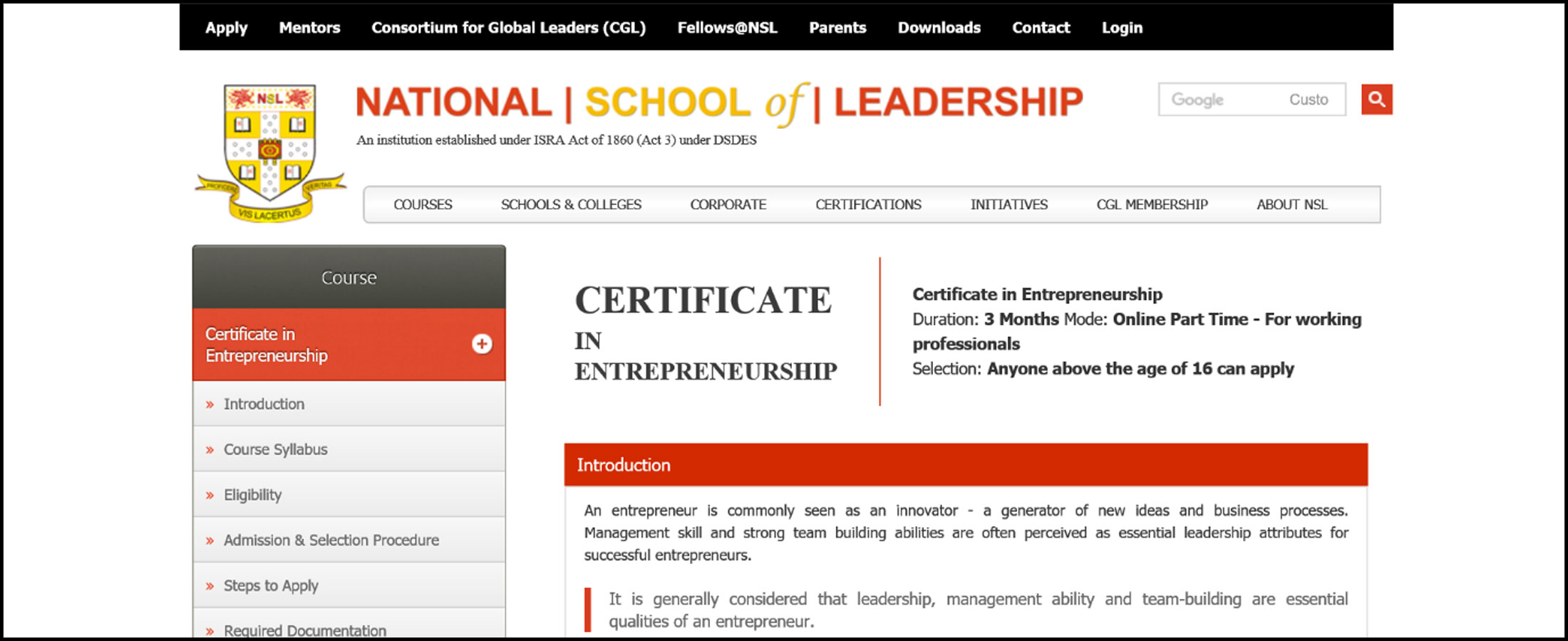 National School Of Leadership Dhriiti The Courage Within